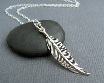 """sterling silver feather necklace. small boho pendant simple delicate dainty charm bohemian rustic everyday jewelry layered. layering. 1 1/4"""""""