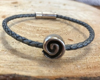 Thin braided leather silver/grey diffuser bracelet