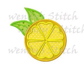 Lemon slice applique machine embroidery design digital pattern