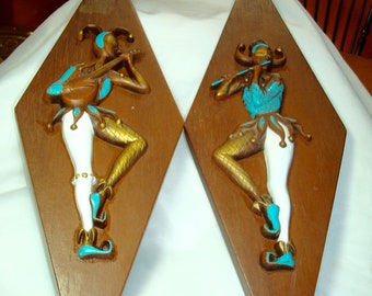 1960's Turquoise and White Musical Harlequin Clown Diamond Shaped wall Plaques by Burwood Products.