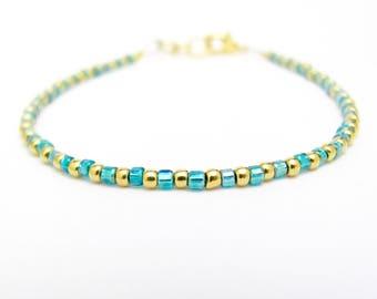 Ocean Blue and Gold Bracelet, Seed Bead Bracelet, 24K Gold Plated Beads, Friendship Bracelet, Summer Jewelry, Turquoise Bridesmaid Wedding
