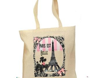 Poodle Gift Bag - Paris Poodle Party - Paris Bag Personalized Tote Retro Gift - French Poodle Canvas Eiffel Vintage - 2 Sizes - French Theme