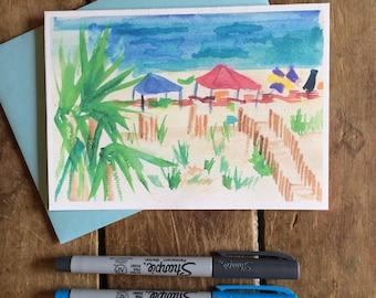 Beach Watercolor Notecard Stationery -- Beach tents, Gulf Shores Alabama