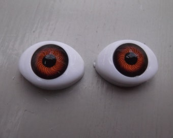 SOE Oval Acrylic Eyes in Brown Variety of Sizes
