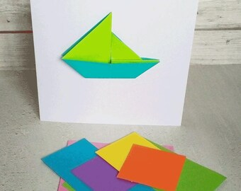Greetings Card - Boat- removeable origami boat, birthday, get well soon, hello