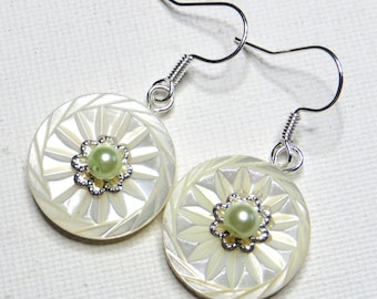 Carved mother of pearl earrings - #746