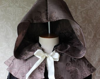 Hooded Capelet - brown damask
