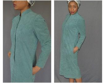 Vintage ... Suede dress / Designer dress / 1950s vintage / Shift dress / Blue dress/ Retro clothing / Medium