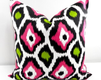 PINK  Pillow. Pink and Chartreuse  Cotton. Animal Print. Sham Pillow case.Select your size.