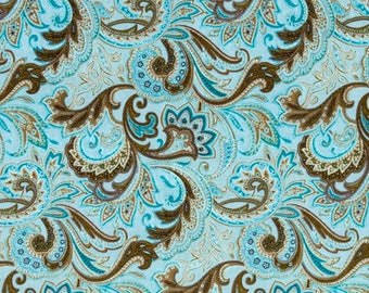 Aqua & Brown Paisley Cotton Fabric by the half yard