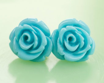 Vintage Rose Button Post Earrings Turquoise 12mm
