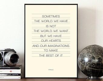 Typographic print, Fringe, TV show quote, typography, motivational quote
