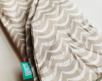SALE - Cotton Boppy Pillow Cover - Taupe Waves - Ready to Ship