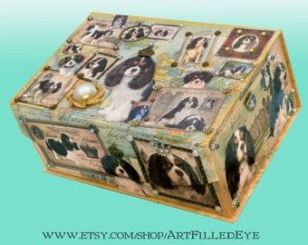 Embellished Decorative Map Box Decoupaged Tri King Charles Cavalier Spaniels-Storage-Jewelry-Keepsake-Art-Artwork-Gift-Memorial