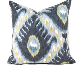 Pillow Covers Decorative Pillows ANY SIZE Pillow Cover Black Grey Pillow Robert Allen Bold Ikat Mineral