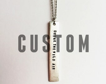 Custom Skinny Bar Quote Necklace