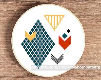 Counted cross stitch pattern PDF - Modern cross stitch - Geometric - Chevron