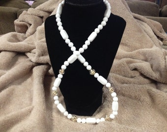 Vintage White and Goldtone Beaded Necklace, 28'' Long