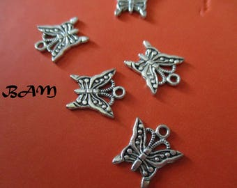 Set of 5 Silver Butterfly charms
