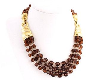 Boucher Necklace - Multistrand Necklace - Beaded Necklace - Vintage Necklace - Marcel Boucher - Topaz Necklace - Designer Jewelry