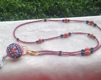 Auburn Beaded ID Badge Lanyard Orange and Blue ID Badge Holder