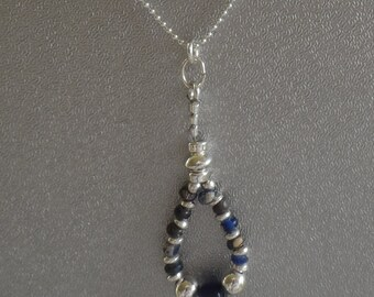 Ancient African Trading Beads and Sterling Silver Pendant on Sterling Silver Chain