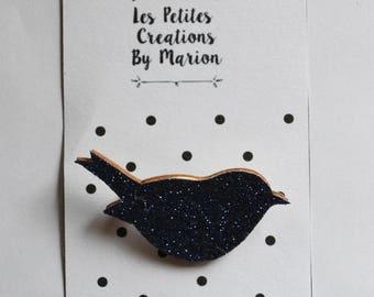 beautiful hand made glitter bird brooch