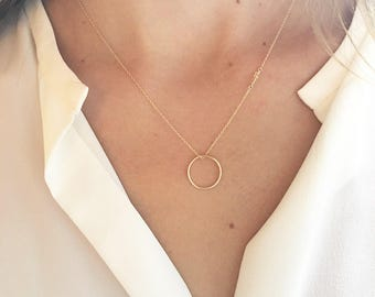 Citrine Necklace - Gold Circle Necklace - Simple Gold Necklace -  14k Gold Filled - November Birthstone Necklace - Dainty Necklace - Layered