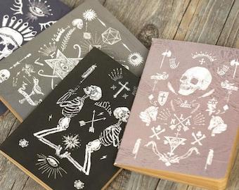 Skulls Notebook/ Skeleton Kraft Journal blank Notebook