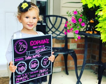 First day of school chalkboard sign, back to school sign, first day of school poster, chalkboard, reusable