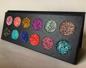 Pressed glitter eyeshadow magnetic palette, customizable, Cosmetic grade glitter, eyeshadow palette, glitter eyeshadow, glitter palette