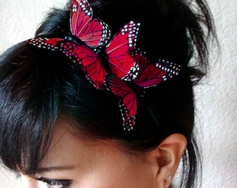 red butterfly headband - hair accessories for women - butterfly headpiece - bohemian hair accessory - bridesmaid hair piece - boho - ROSIE