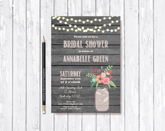 Rustic Bridal Shower Invitation Printable, Mason Jar Bridal Invitations, Country Bachelorette party invitation Pink gray