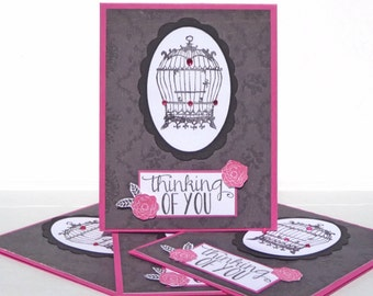 Handmade Stationary - Thinking of You Note Cards - Set of 4 Paper Cards, Blank Cards, Thank You Cards, Vintage Inspired Birdcage Cards