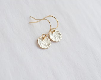 Hammered Gold Dot Earrings, Gold Circle Earrings, Gold Filled Earrings, Gold Earrings