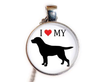 I Love My Labrador Retriever   Labrador Retriever Gift, Jewelry   Labrador Necklace, Pendant   Dog Breed Necklace, Pendant   Love My Dog