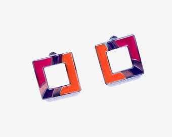 Modernist SWATCH Bright Enamel on Stainless Steel Silver Tone Pierced Earrings Pink Orange and Purple  Gift for Her