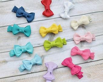 Small hair bow, mini hair bows, small bows,SET of 6, small baby hair clips, newborn hair bows, mini hair clips, tiny hair bows