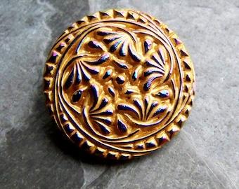 Vintage Button-Glass Button-Czech Button- Bohemian Button-Flower Button-Vintage Czech Bohemia Jablonex Iris Floral Glass Button-1