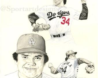 Fernando Valenzuela fine art Limited Edition print from original charcoal drawing