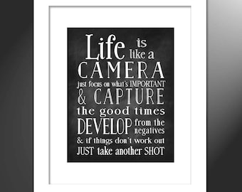 Life is like a Camera, Gift for Photographer, Camera Lovers, Photography Art, Wall Art Print, Black and White Camera, Gift for Him, Gift Her