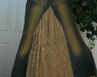 SALE Belle Époque vintage French lace jean skirt  taupe ultra femme distressed glam bohemian beach wedding mermaid Renaissance Denim Couture
