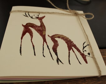 Unique, handmade Christmas  Cards, DEERS, set of 4, with envelope