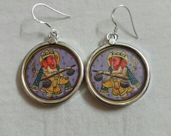 Handmade 92.5 Sterling Silver Earrings. Hand Painted Miniature Painting Hindu God Ganesha with Sitar playing Earrings.Glass Framed Earrings.