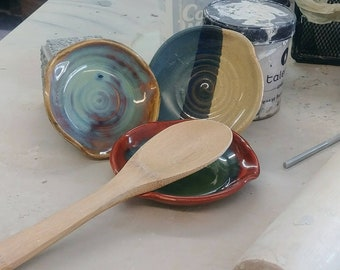 Clay ceramic spoon rests red, green, blue, tan & brown