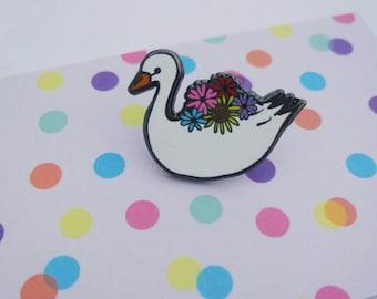 Swan planter enamel pin