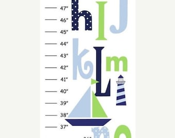 Personalized Green & Navy Nautica Boat Alphabet Canvas Growth Chart
