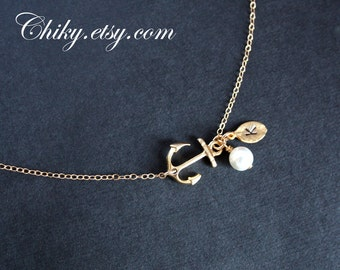 Gold Anchor with initial Leaf and Pearl Necklace - Sailors, Ocean, Sea, Navy, Cute simple look, Birthday, Mother's day, Christmas gift
