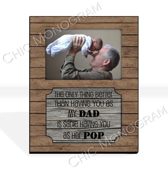 Father's Day Gift Grandfather Gift for Dad Grandpa New Grandparent Gift Custom Photo Frame Picture Frame Rustic Wood Look 8 x 10 w/ 4 x 6