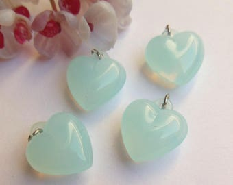 set of 6 hearts in blue plastic beads
